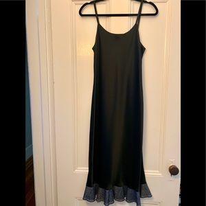 NWOT- Helmut Lang Black Dress with Denim Hem